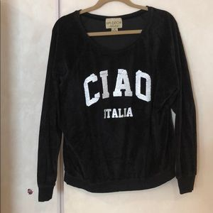 WILDFOX WHITE LABEL black velour ciao italia